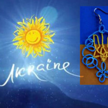 Independence Day of Ukraine-emblem Ukraine-Support Ukraine- OOAK- blue and yellow-tatted earrings- handmade jewelry - lace earrings-trident
