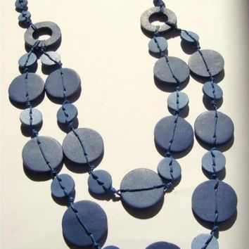 Blue Denim  Necklace made of  Polymer clay Button Beads Handmade Jewelry