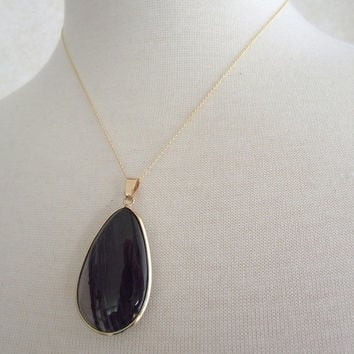 Luxurious Teardrop Agate Necklace, 14kt Gold-Filled Necklace, Black Teardrop Jewelry OOAK, 18 inch gold necklace