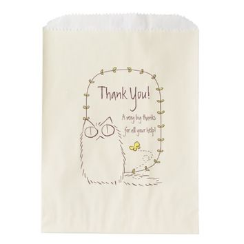 Fluffy Cat and Yellow Butterfly Custom text Favor Bag