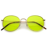 Retro Fashion Round Pantone Colors Flat Lens Sunglasses C437