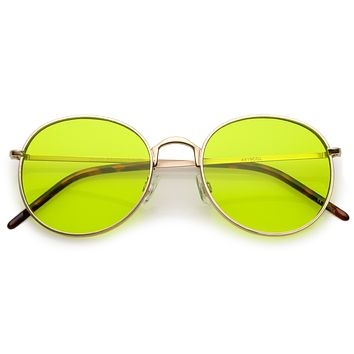 Retro Fashion Round Color Tone Colors Flat Lens Sunglasses C437