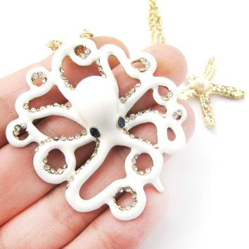 Octopus Shaped Animal Pendant Starfish Charm Necklace in White | DOTOLY