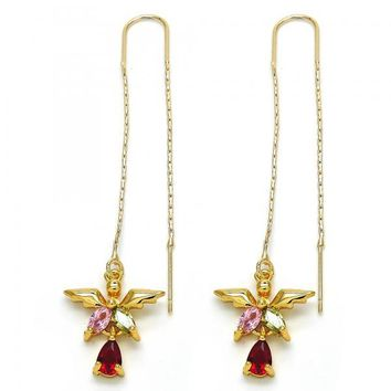 Gold Layered 02.266.0007 Threader Earring, Teardrop Design, with Multicolor Cubic Zirconia, Polished Finish, Golden Tone
