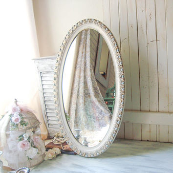 French Blue and Antique Cream Oval Ornate Mirror Cream and Gold Vintage Nursery Mirror Shabby Chic Floral Rustic Cream Oval Bathroom Mirror