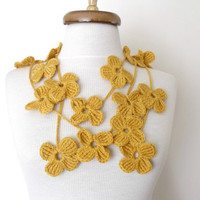 SALE...SALE...Mustard  Flower Lariat, Scarf, Necklace Hand Crochet-Ready For Shipping