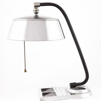 Vintage Art Deco Desk Lamp Chrome with black enamel | City of Z Design