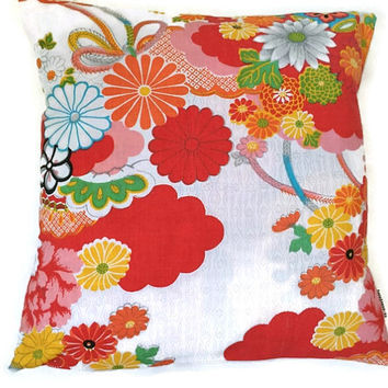 Japanese Pillow Cover - Floral Pillow Case - Cushion Cover - Japanese Fabric - Decorative Throw Pillow - Accent Pillow 18x18 - Asian Pillow