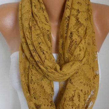 Spring Mustard Lace Infinity Scarf Mother's Day Gift Summer Scarf Cowl Circle Loop Oversized Gift Ideas For Her Women Fashion Accessories