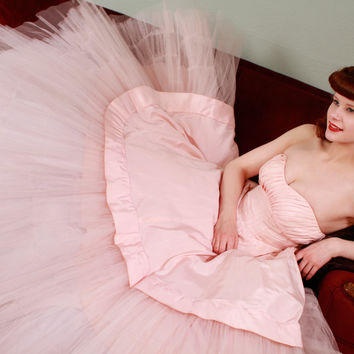 Vintage 1950s Dress - Amazing Powder Pink Ballgown Party Dress with Tulle - Cerith
