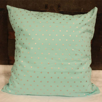 Aqua and Gray Metallic Polka Dot Pillow Cover- Case- 18x18- Home Decor- Decorative- Throw Pillow- Accent Pillow- Print Pillow