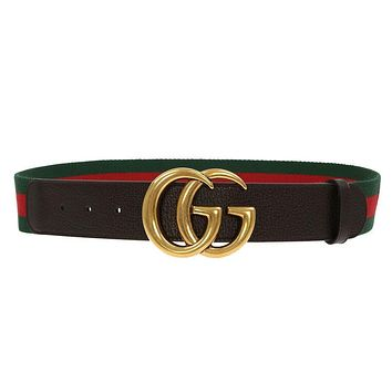 NEW GUCCI CURRENT WEB DETAIL CANVAS BROWN LEATHER DOUBLE G BUCKLE BELT 85/34
