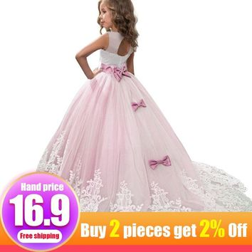 Trailing long flower dress for wedding birthday girls dress first communion princess pageant ball gown costume vestido bride