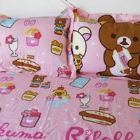 Cliab Rilakkuma Bedding Twin with Food 100% Cotton Duvet Cover Set 5pcs Rilakkuma Bed Sheets