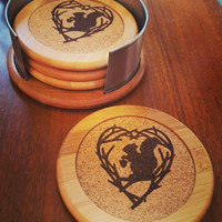 Woodburned Squirrel Coasters with Holder ~ Bamboo and Cork ~ Housewarming Gift ~ Home Decor
