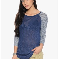 Navy Lovely Knit Casual Top | $10.00 | Cheap Trendy Blouses Chic Discount Fashion for Women | ModDe