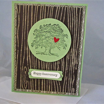 Anniversary retirement birthday card stamped tree masculine handmade blank stationery greeting card home