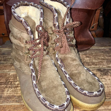 Vintage 1970's Snowland Mukluks Vegan -faux Fur and man made materials Winter & Snow Boots Women's size 7--Made in USA