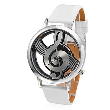 Fashion Hollow Musical Note Style Dial Watch