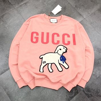 GUCCI 2019 new logo puppy rhinestone collar sweater Pink