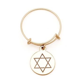 Alex and Ani Star of David Spiritual Imprint Expandable Wire Ring -...