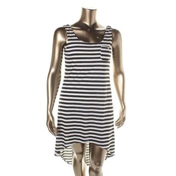 As U Wish Womens Juniors Striped Hi-Low Tank Dress