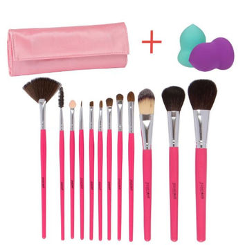 12 Pieces Makeup Brush Set, Hot Pink with Makeup Blender Sponge and Travel Essentials Case