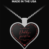 Necklaces For Teen Girls - Daddy's Princess - Heart Shaped Pendant - Love Quotes - Cute Gift