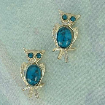 Two Owl Scatter Pins Faux Turquoise Belly Vintage Figural Jewelry