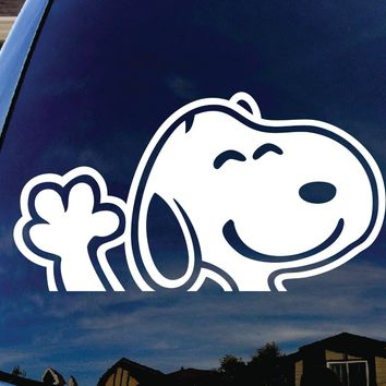Snoopy Waving Hi Car Window Vinyl Decal Sticker