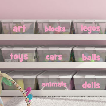 Playroom Toy Bin Decals - by Decor Designs Decals, Playroom Decals- Bin Labels - Organization - Toy Bin Labels- Toy Bin Decal - Wall Decals- Playroom Toys - H30