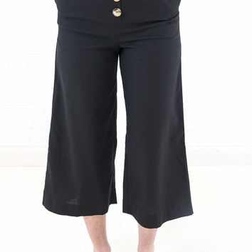 Women's Wide Leg High Waisted Culottes with Button Front