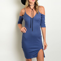 Cold Shoulder Ribbed Knit Dress in Blue