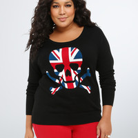 Skull Union Jack Raglan Sweater