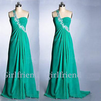 Elegant green chiffon one shoulder long handmade prom dress, graduation dress, party dress with sequins