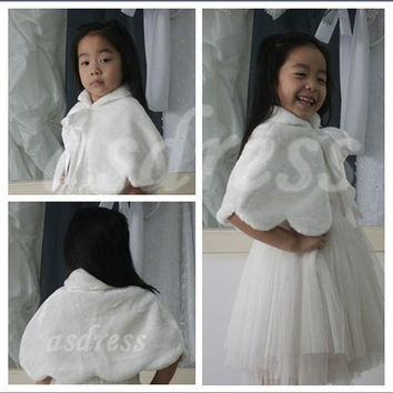 Flower girls faux fur cape let white ivory,off white,cream little girl Cape Winter Wedding coat Black Faux Fur shawl Wrap Shrug Short Jacke = 1931698372