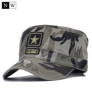 [NORTHWOOD] 2017 New Camo Flat Cap US Army Cap Men Baseball Cap Camouflage Mens Snapback Bone Tactical Sport Hats For Adult