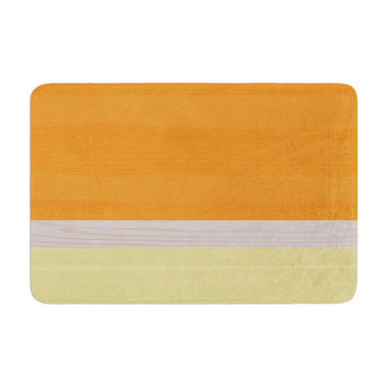 "KESS Original ""Spring Swatch - Tangerine Custard"" Orange Yellow Memory Foam Bath Mat"