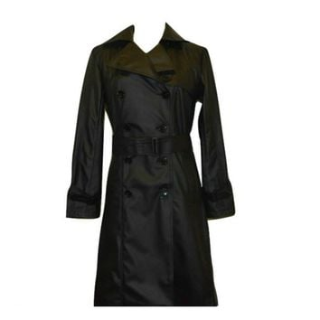 Vegan Leather Trench Coat 'Irene' Black