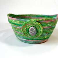 Large Hand Coiled Rope Basket - Clothesline Bowl - Green with Pink Organizer - Quilted Batik Fiber Art - Holiday Decor - Handmade Quiltsy