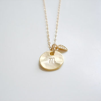 Custom - Tiny 14k Gold Filled Hammered Coin Dot Disc Cursive Initial and Leaf Necklace by Emeline Darling
