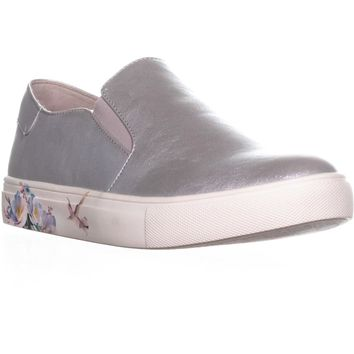 Nanetta Nanette Lepore Winnie Floral Slip On Sneakers, Silver, 10 US