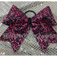 Cheer Bow - Hot Pink Cheetah Shiny Cheerleading Dance Ribbon