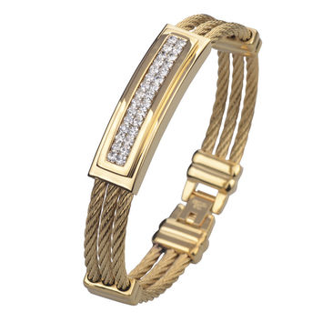 Full Gold Plated Wire Cable Men's Crystal Bracelets Bangles Fashion Stainless Steel Men Jewelry 2015