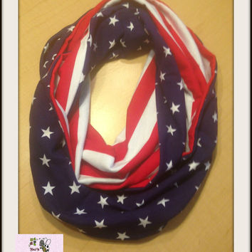 Red White and Blue Patriotic Adult Infinity Scarf