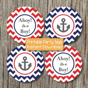 Nautical Baby Shower Decorations Anchor Ahoy its a Boy Cupcake Toppers Navy Blue Red Chevron Favor Tags diy Printable INSTANT DOWNLOAD 193