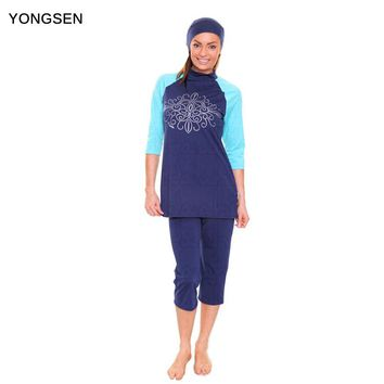 YONGSEN Full Coverage Modest Muslim Swimwear Islamic Swimsuit For Women Arab Beach Wear Muslim Hijab Swimsuits Plus Size