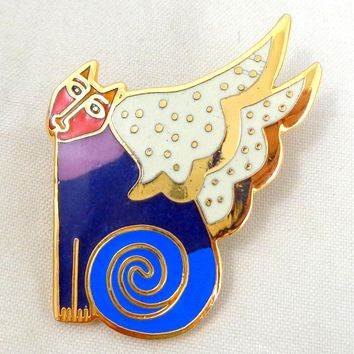 "Vintage LAUREL BURCH ""Cat Goddess"" Cloisonne Enamel Pin"