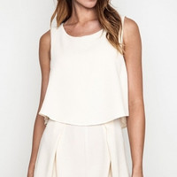 Layered Front Pleated Shorts Open Back Romper - Ivory