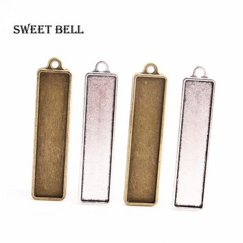 Sweet Bell 6 pcs two color Alloy Cameo double-sided fit 13*60mm rectang Cabochon Pendant Setting Jewelry Blank Findings A4133